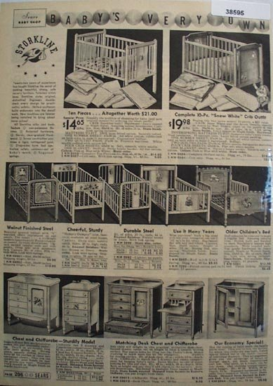 Sears Storkline Baby Furniture 1938 Ad