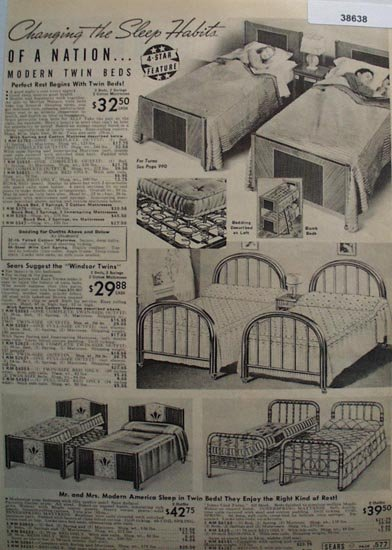 Sears Twin Beds 1938 Ad