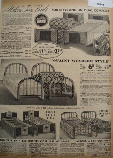 Sears Modern Twin Beds 1938 Ad