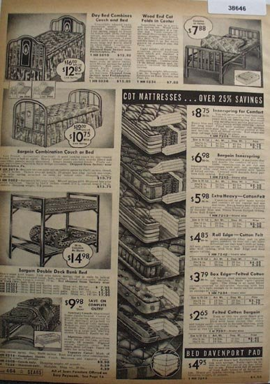 Sears Day Beds And Mattresses 1938 Ad