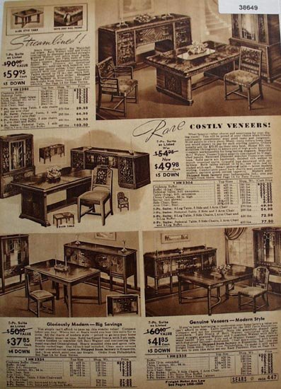 Sears Dining Room Furniture 1938 Ad