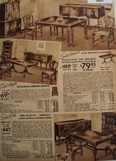 Sears Dining Room Suites 1938 Ad