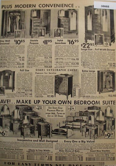 Sears Bedroom Suite Furniture 1936 ad