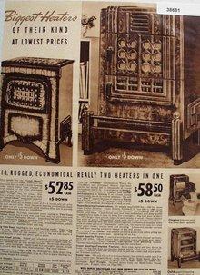 Sears Big Rugged Wood Or Coal Heaters 1938 Ad