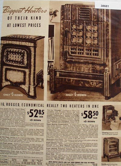 Sears Big Rugged Wood Or Coal Heaters 1938 Ad