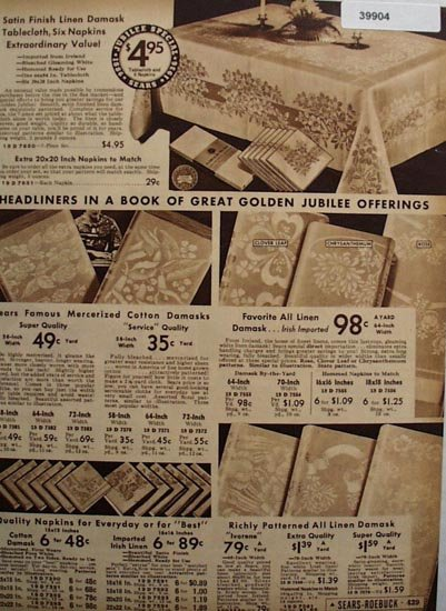 Sears Linen And Cotton Table Cloths And Napkins 1936 Ad