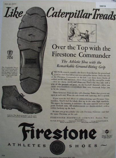 Firestone Athletes Shoes 1929 Ad