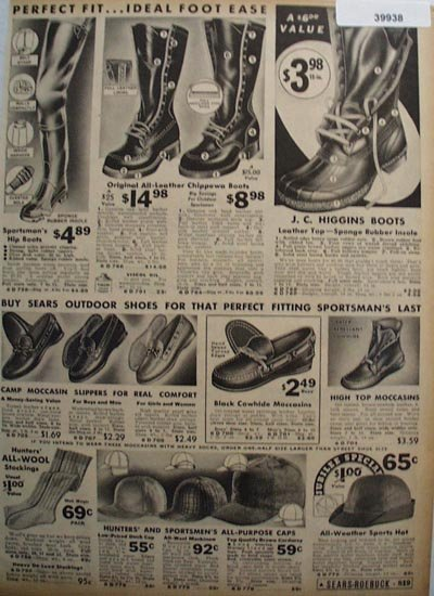 Sears Mens Boots, Caps, Moccasins 1936 Ad