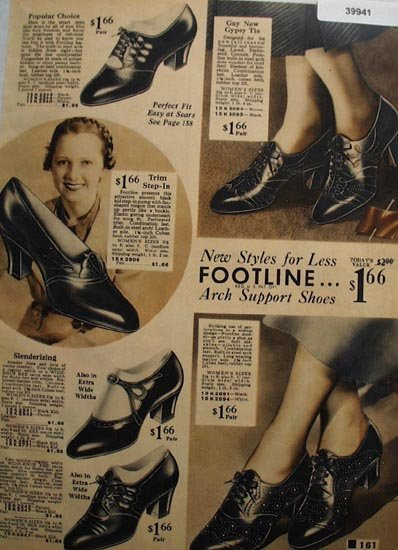 Sears Footline Womens Shoes 1936 Ad