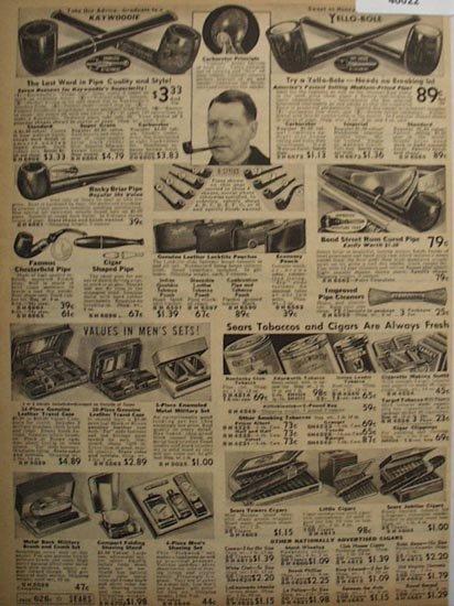 Sears Smoking Supplies 1938 Ad