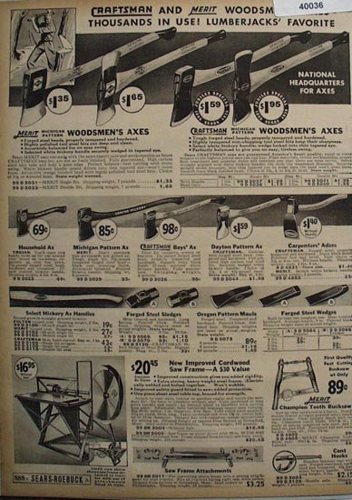 Sears Lumberjack Tools 1936 Ad