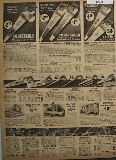 Sears Craftsman Saws and Sharpening Tools 1938 Ad