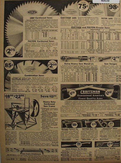 Sears Circular Saws And Axes 1938 Ad