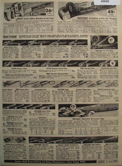 Sears Wrenches, Snips And Pliers 1938 Ad