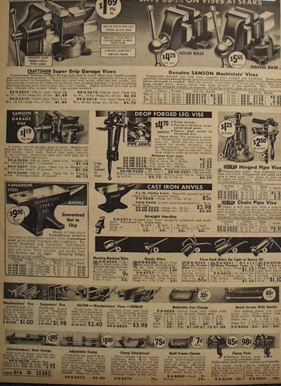Sears Vises, Anvils, Oil Cans And Clamps 1938 Ad