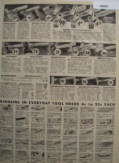 Sears Hammers Hatchets And Tools 1938 Ad