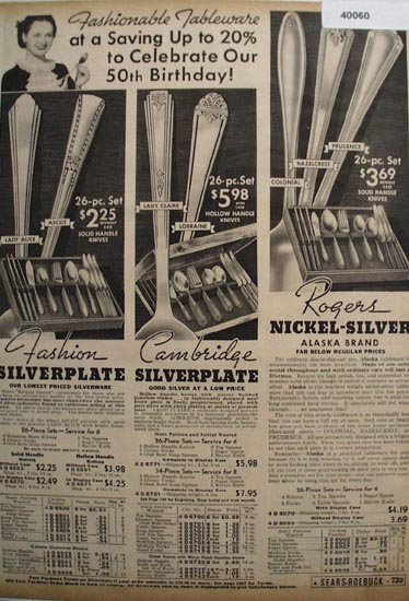 Sears Fashion, Rogers, Cambridge Tableware 1936 Ad
