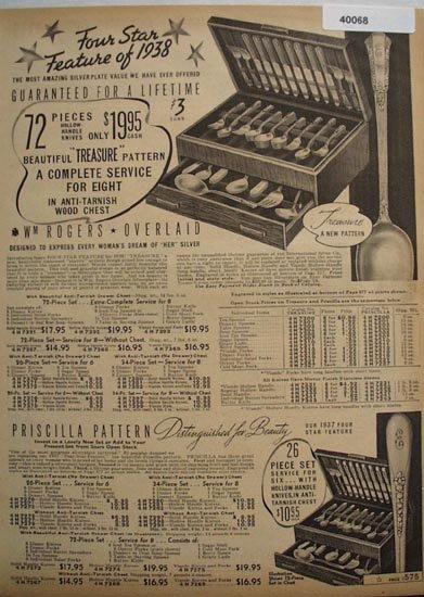 Sears Wm. Rogers Overlaid Tableware 1938 Ad