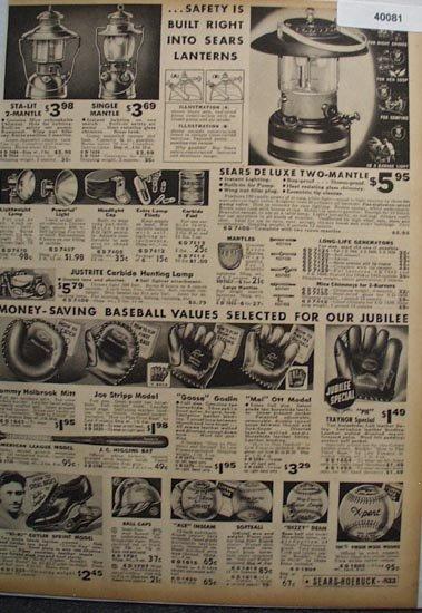 Sears Camping and baseball Supplies 1936 ad