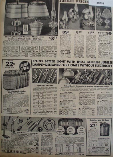 Sears Wick Type Mantle Lamps 1936 Ad