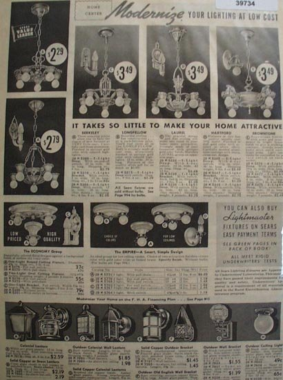 Sears Light Fixtures 1938 Ad