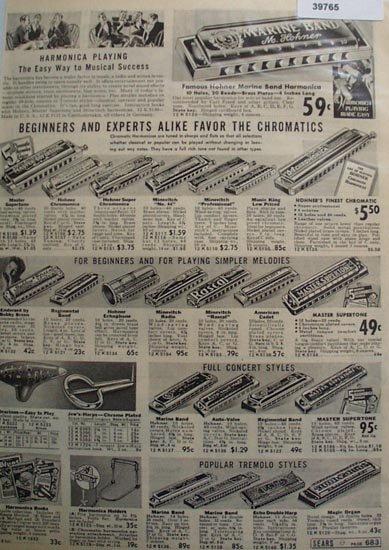 Sears Harmonicas, Ocarinas, Jews Harp 1938 Ad
