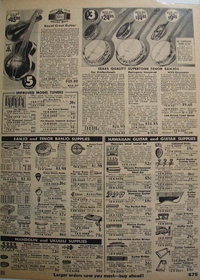 Sears Guitar, Banjos And Supplies 1935 Ad