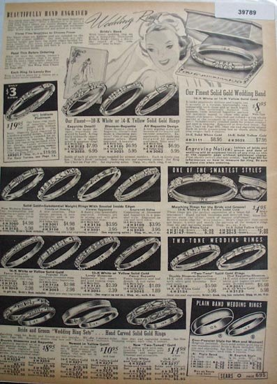 Sears Hand Engraved Wedding Rings 1938 Ad