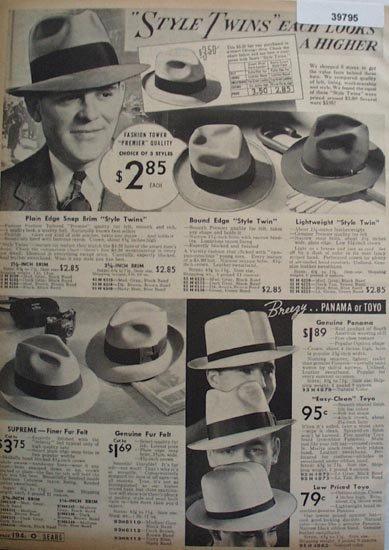 Sears Mens Hats 1938 Ad