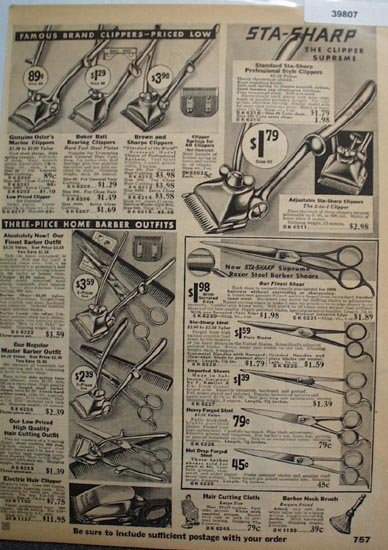 Sears Hair Clippers and Shears 1936 Ad