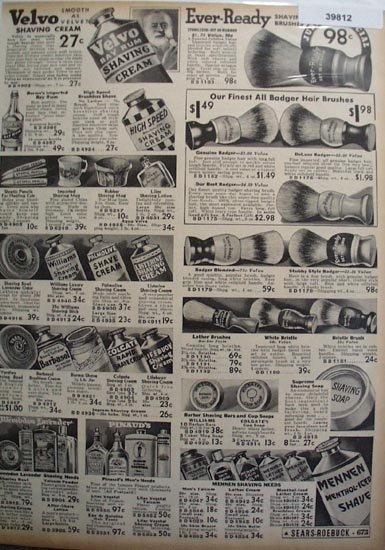 Sears Shaving Supplies 1936 Ad