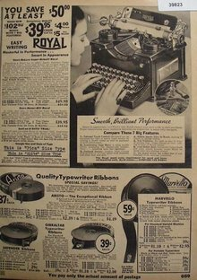 Sears Typewriter And Ribbons 1936 Ad
