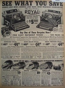 Sears Royal Typewriters And Ribbons 1938 Ad
