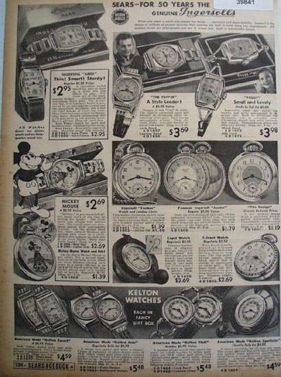 Sears Ingersoll And Kelton Watches 1936 Ad