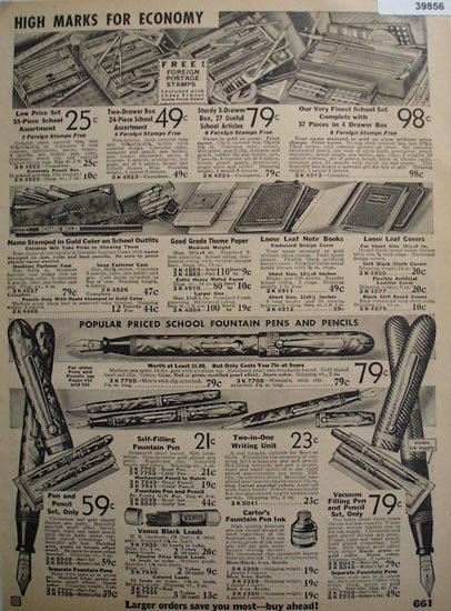 Sears Pens And School Supplies 1935 Ad
