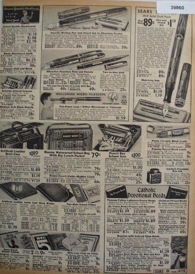 Sears Pens School Supplies 1938 Ad