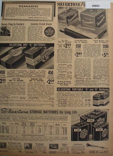 Sears Silvertone Radio Batteries 1938 Ad
