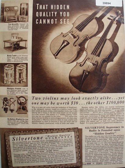 Sears Silvertone Hidden Quality Guarantee 1938 Ad
