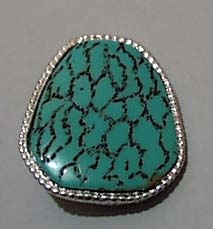 Simulated Turquoise Silvertone Pin