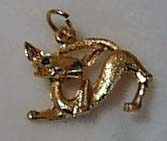 Kitten Pin Gold Tone Green Glass Eyes