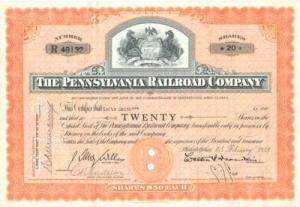 Pennsylvania RR Company Stock 1953 certificate