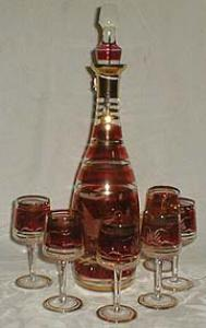 Cut glass goose cranberry flashed wine decanter.