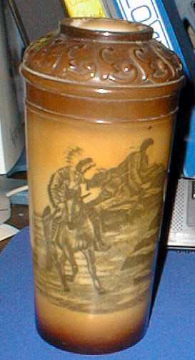 Milk glass Stained Fostoria Vase Indian Scene