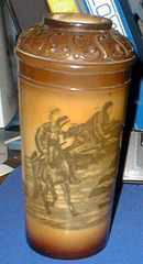 Milk glass Stained Fostoria Vase Indian Scene