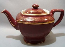 Hall Maroon & Gold Teapot