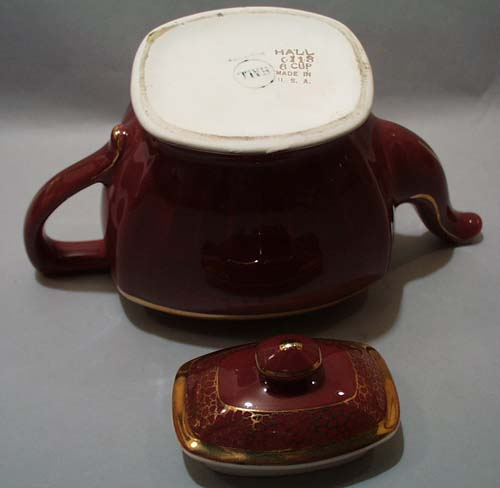 Hall Maroon & Gold Teapot