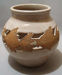 Yellow ware Goldfish Pottery Vase