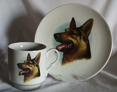 Porcelain cup & plate with German Shepherd