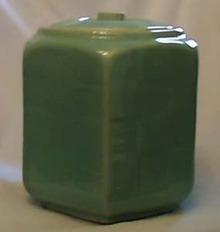 Shawnee Pottery Cookie jar, gloss matte green