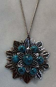 Simulated Turquoise & Silver Tone Pendant